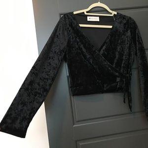 Black Velvet Wrap Crop Top